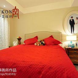 一空設計美式臥室婚房壁紙裝修設計效果圖