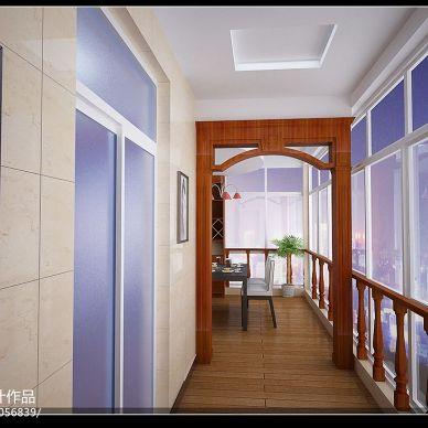 混搭风格天蓝色阳台装修效果图