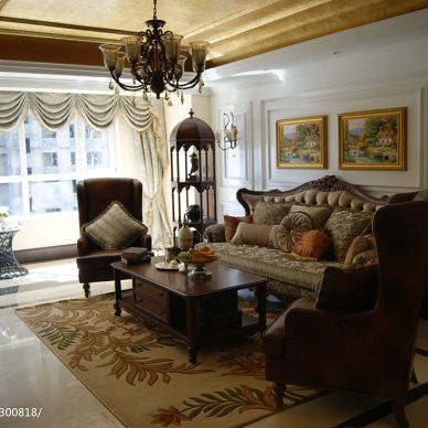 御园美式客厅整体室内装修效果图