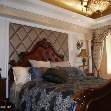 美式卧室床头背景墙窗帘装修效果图