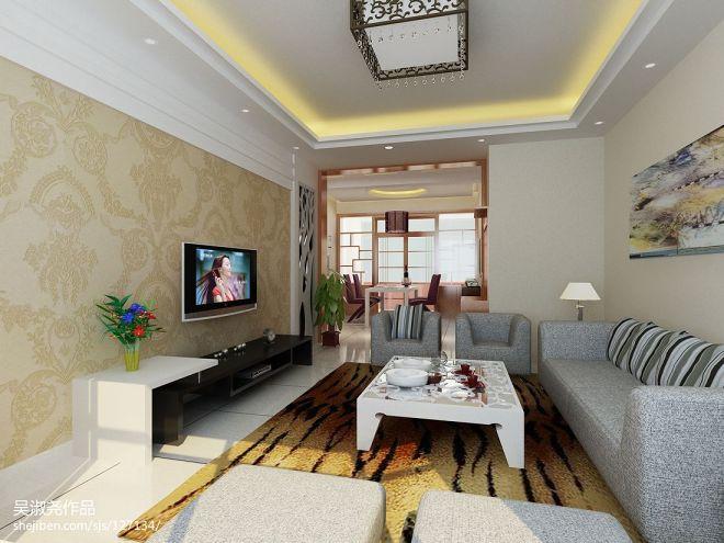 中式小客厅 电视墙装修效果图