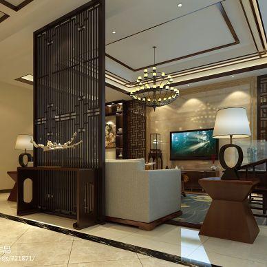 北厍别墅中式客厅镂空隔断装修效果图
