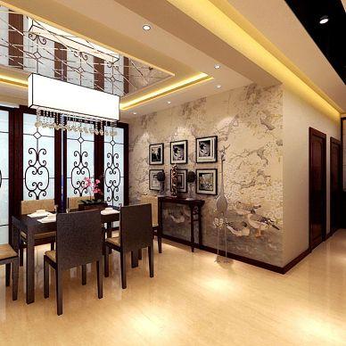 中式餐厅背景墙屏风装修效果图