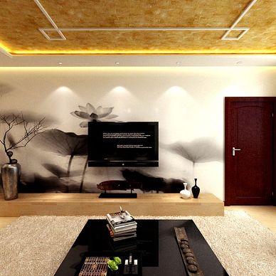 滨州客户中式客厅电视背景墙装修效果图