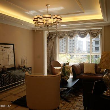 中汇城样板房(中式新古典)客厅吊灯的装修效果图