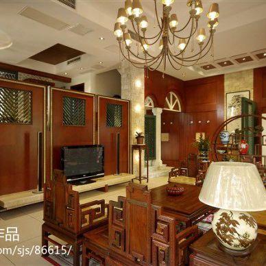 中式风格古典客厅电视墙装修效果图