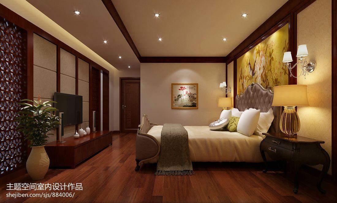 卧室壁纸效果图_富贵中式卧室床头背景墙地板壁纸装修效果图 – 设计本装修效果图