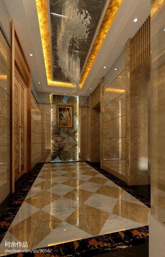 电梯厅玄关吊顶吊灯装修效果图