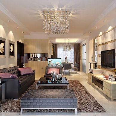 山河锦园现代客厅装修设计效果图