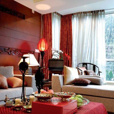 中式样板红色客厅装修效果图