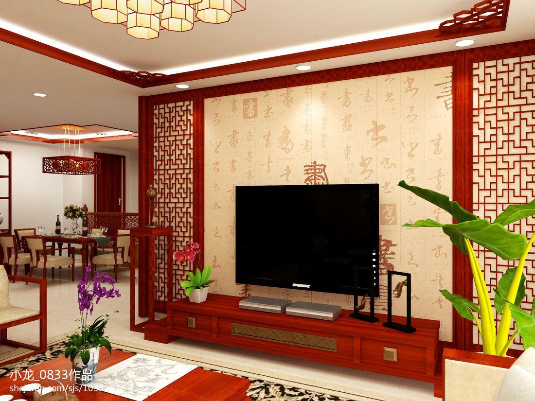 中式电视背景墙效果图_中式客厅红色实木电视背景墙装修效果图 – 设计本装修效果图