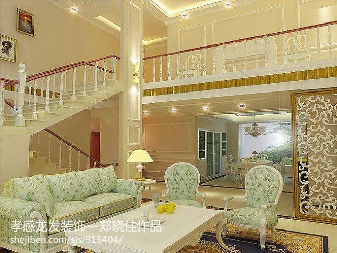 光源景苑别墅欧式挑空客厅楼梯装修效果