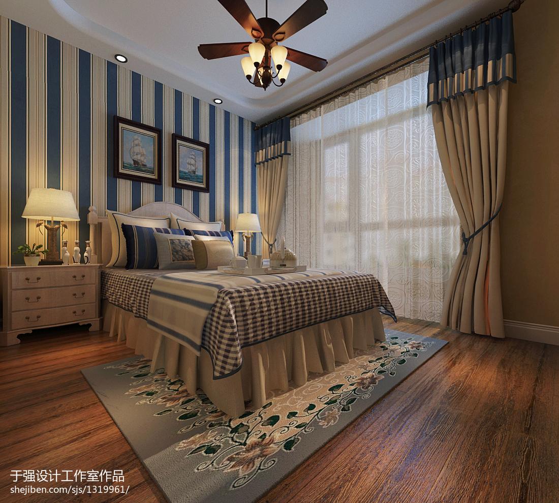 现代风格吊灯模型_地中海风格卧室吊灯窗帘混搭装修效果图 – 设计本装修效果图
