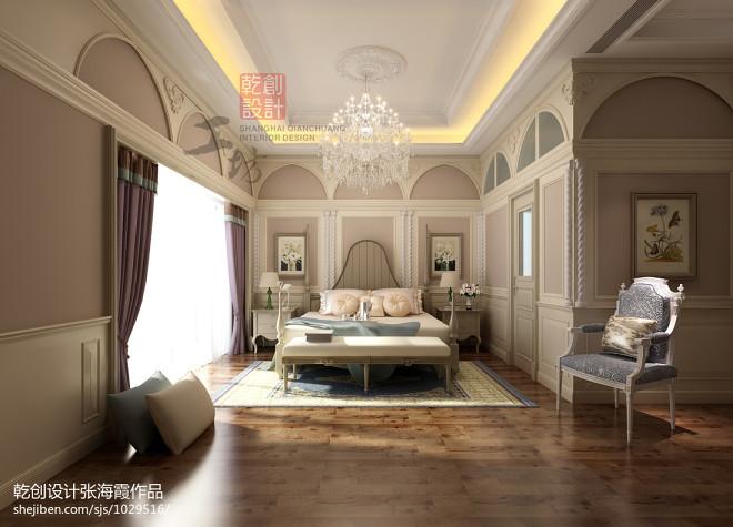 梦回塞纳河畔欧式卧室背景墙窗帘地板装