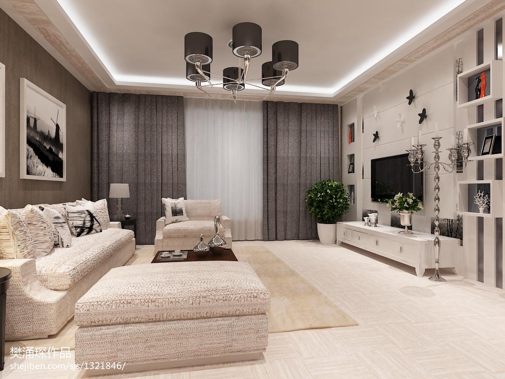 家装现代风格效果图_中式风格现代客厅落地窗帘装修效果图 – 设计本装修效果图