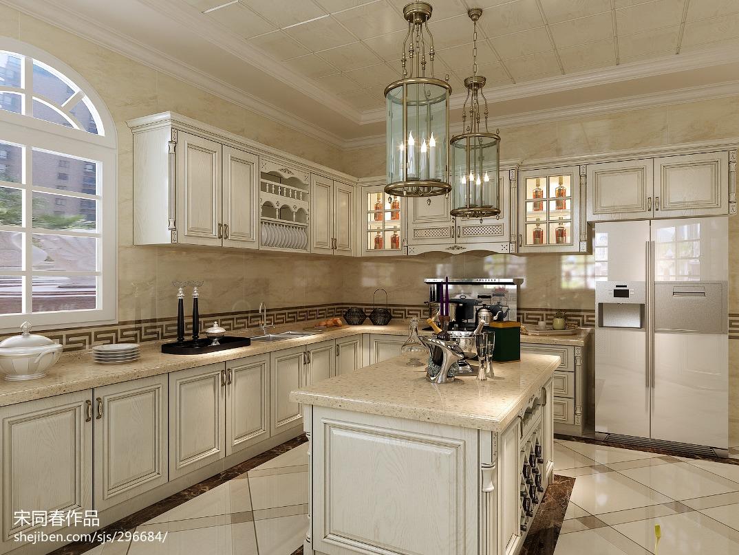 家居壁纸效果图_地中海温馨厨房吊灯装修设计效果图 – 设计本装修效果图