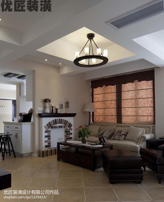 蓝堡爱琴海美式小客厅设计装修效果图