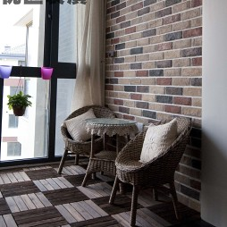 美式阳台藤椅装修效果图