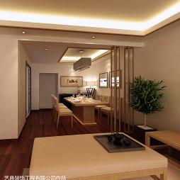 水电金檀新中式135平中式餐厅客厅一体装修设计效果图