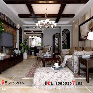 芜湖东城豪庭美式客厅设计装修效果图