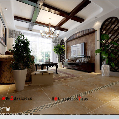芜湖东城豪庭美式客厅电视背景墙设计装修效果图