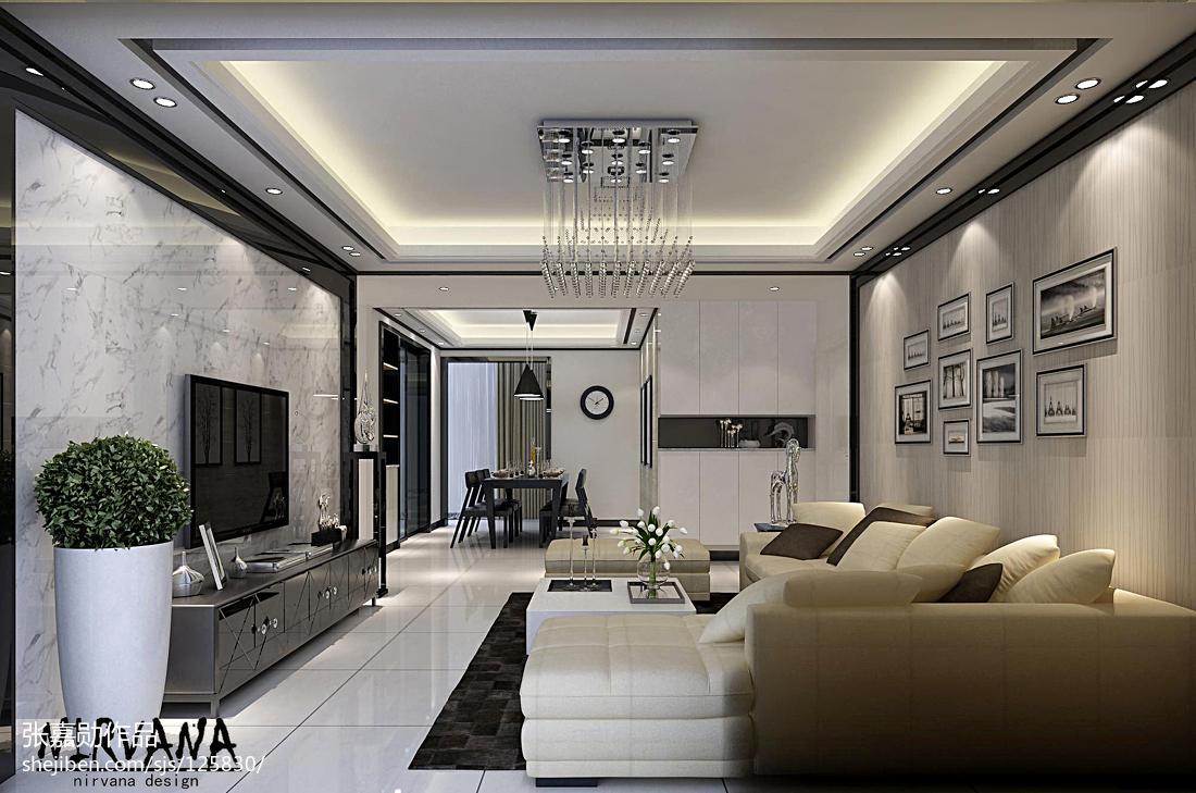 黑白配家装效果图_黑白灰色调的现代风格客厅装修效果图 – 设计本装修效果图