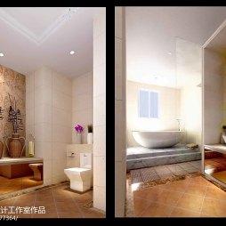 祈福半岛陈宅现代卫浴高档瓷砖装修设计效果图