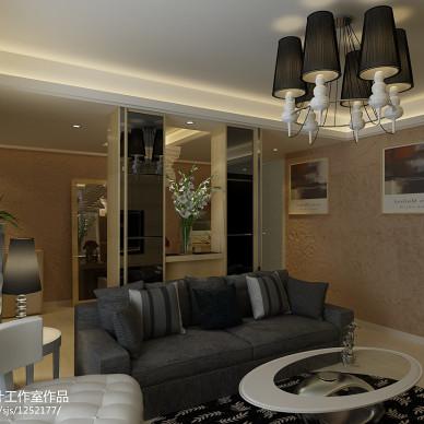 翡翠国际现代客厅吊顶吊灯装修效果图