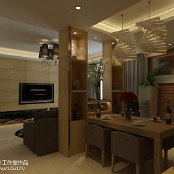 翡翠国际现代餐厅吊顶吊灯装修设计效果图