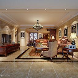 温馨美式风格客厅沙发背景墙装修效果图