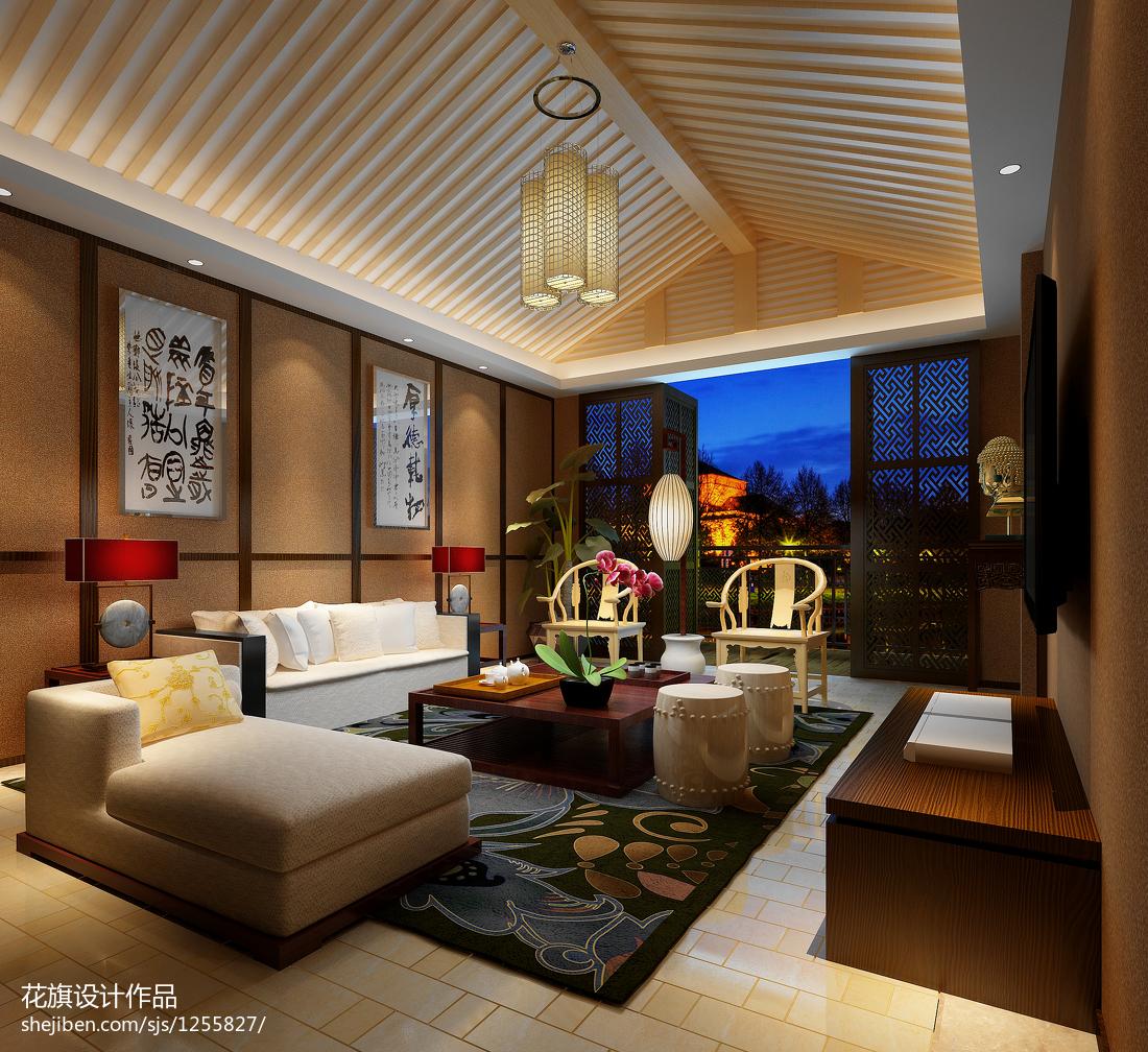 三居室效果图_三居室中式客厅吊顶吊灯装修效果图 – 设计本装修效果图