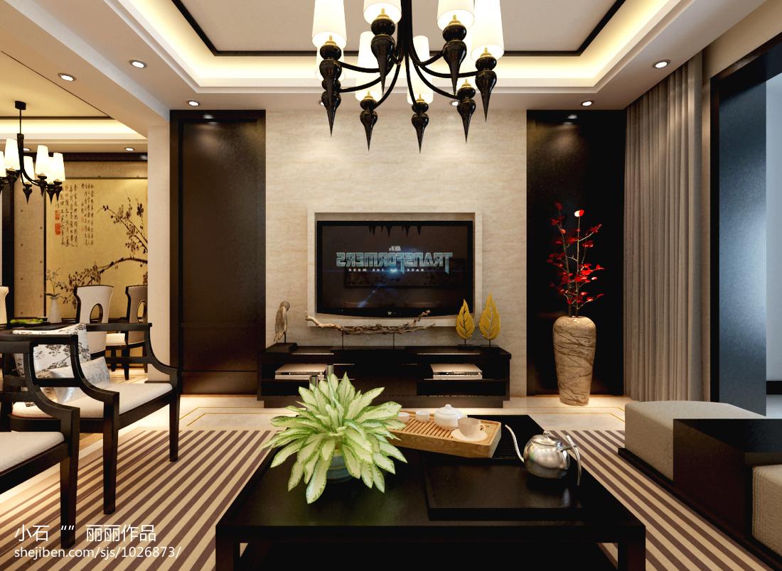 简约中式电视背景墙_现代中式客厅电视背景墙效果图 – 设计本装修效果图