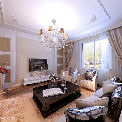 名仕庄园欧式小客厅窗帘装修效果图