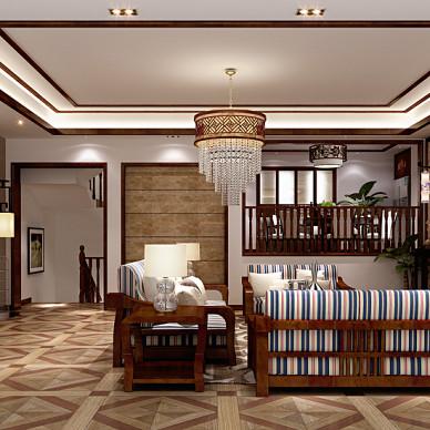 中式客厅壁炉装修效果图