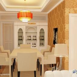 百色_欧式家装餐厅酒架装修设计效果图