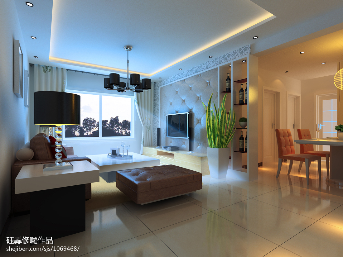 玄关鞋柜3d模型_现代风小型客厅隔断装修效果图 – 设计本装修效果图
