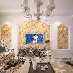 混搭 美式客厅电视墙装修效果图