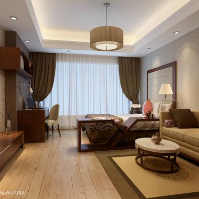 新中式客厅窗帘装修效果图