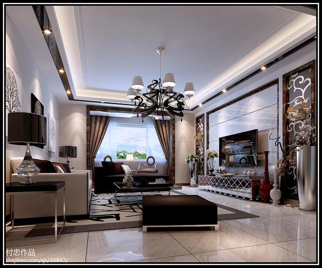 桂城 现代客厅吊顶吊灯装修效果图
