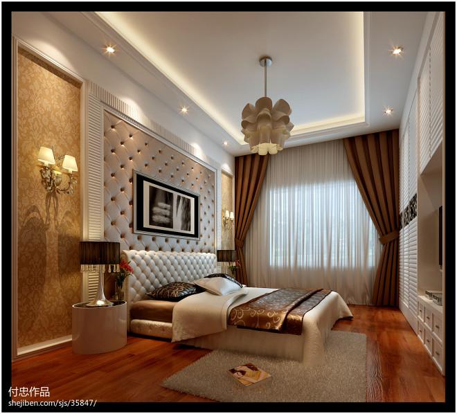 自建房_现代卧室床头背景墙装修设计效