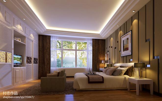 自建房_现代卧室电视柜装修设计效果图