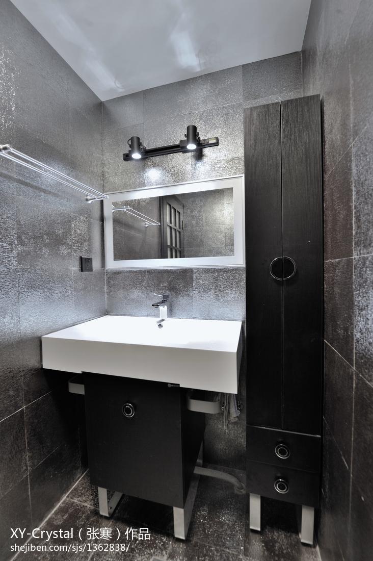 家居壁纸效果图_混搭卫生间台盆柜装修设计效果图 – 设计本装修效果图