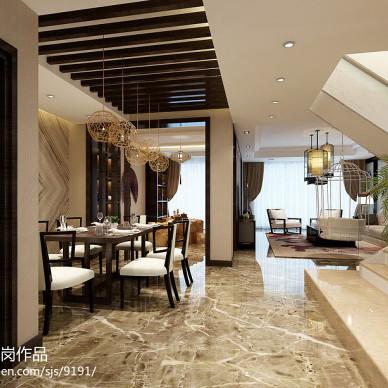 新中式餐厅龙骨吊顶装修设计效果图