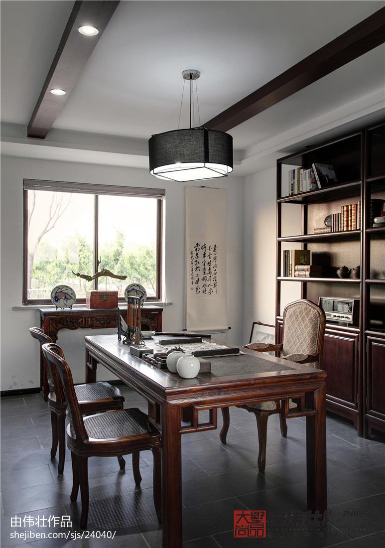 中式风格餐厅书房一体装修效果图