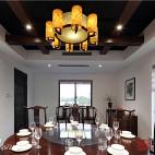 梨园—新中式风『怡然居』餐厅吊灯装修设计效果图