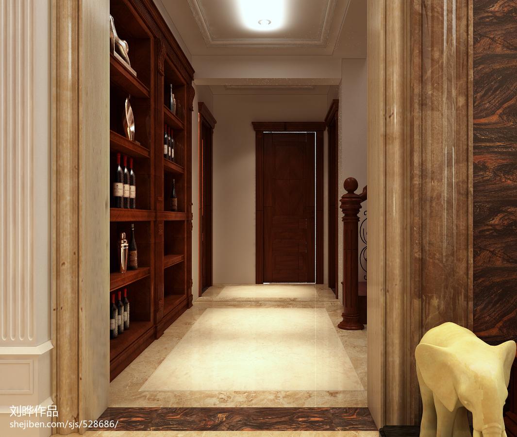 客厅与走廊移门效果图_美式风格进门小过道吊顶装修设计效果图 – 设计本装修效果图