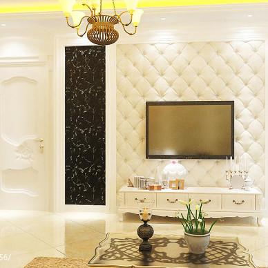 唯美简欧风格客厅电视墙装修效果图