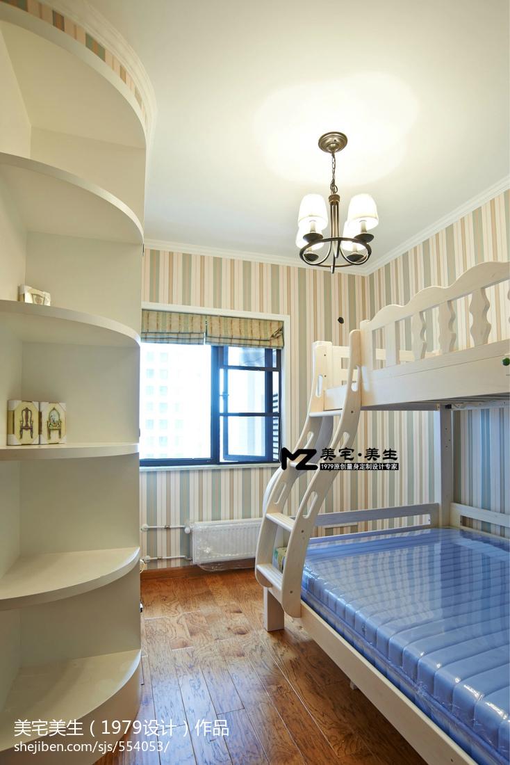 地中海风格儿童卧室_小清新美式风格儿童房博古架装修图片 – 设计本装修效果图