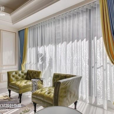 新古典豪宅客厅窗帘装修效果图大全