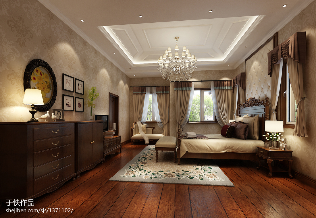 主卧背景墙纸效果图_欧式带花卧室壁纸装修效果图 – 设计本装修效果图